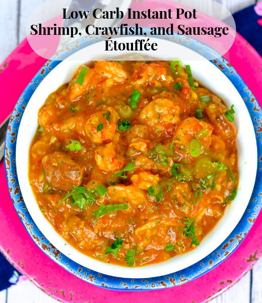 PICTURE Low Carb Instant Pot Shrimp, Crawfish, and Sausage Étouffée This easy low carb kept friendly Instant Pot étouffée will be a new favorite in your house. With a few simple swaps using cauliflower rice, this dish is excellent for low carb dieters. PICTURE Before scrolling down to the recipe, be sure to read my easy tips for making your recipes low carb, keto friendly and delicious. NOTE: We are a participant in the Amazon Services LLC Associates Program, an affiliate advertising program designed to provide a means for us to earn fees by linking to Amazon.com and affiliated sites. PICTURE Question time! What is your favorite cold weather dish? I posed the above question on the Skinny Louisiana Facebook page and received the same style answers: gumbo, stews, soups, and étouffées! Growing up in Houma, LA I knew exactly when each cold front arrived from the amazing of the trinity, onion, pepper, and celery sautéing for a roux for our gumbo, stews, and étouffée. From various seafoods to wild game, gumbo, stews, and étouffées was our cold weather served over a big serving of rice. Delicious! When discussing favorite cold weather dishes with my Yankee (so, he is from the midwest, but anything north of I10 is the north) husband, he had the same glimmer in his eyes and stated his cold weather comfort foods are meat and potatoes. Wha…. Not criticizing, but where is my flavor! Today, we are tackling étouffée. And better yet, make sure to tackle my popular Low Carb King Cake Cheesecake Bars https://www.skinnylouisiana.com/low-carb-king-cake-cheesecake-bars/! Étouffée discussion: Roux or No Roux? Tomatoes or No Tomatoes? A 'roux' is the basis of many of our gumbo, stews, and étouffées. A roux is combination of flour and butter (or other fat) used to add thickness to a dish. Growing up, the shock of not using a roux would have had you disowned by many family members, but in today's health standards, the concern with a roux is the carb content. Similarly striking a nerve, the used of tomatoes in an étouffée can start a family feud. Some use tomatoes, some do not. I am not up for debating the subject since I cook based on taste. Food history states Cajun étouffée (which I am 100% Cajun) does not use tomatoes, and Creole étouffée uses tomatoes. My philosophy - you do you. You like tomatoes, use them. You don't, leave them out. No one has that time for negativity. Restaurants love to serve up étouffée including Pappadeaux shrimp étouffée, Paul Prudhomme shrimp étouffée, and Emeril's shrimp étouffée. When chatting with folks, I learned the love the crawfish étouffée, but many folks are ready to take this dish to a low carb keto étouffée recipe. And with that, it was time to go to my drawing board and bring out the 'new' trusty Instant Pot. The result is an amazing low carb keto friendly étouffée the entire family will love. I hope you and your family will enjoy it as much as mine does! Where to Shop for Low Carb Ingredients Before I go over ingredients, know the items used in this recipe can be found at many of your local supermarkets and Drug Emporium. Many of you know my love of Drug Emporium stores. Not only does Drug Emporium have amazing prices (often the cheapest in town), I work with this amazing company in putting on Low Carb Food Demonstrations and product selection for shelves. All my items in the recipes are from Drug Emporium. For a full list of Drug Emporium store locations, click here. http://drugemporiuminc.com/ No Drug Emporium in your town? No worries, I have the links for where to purchase online! Where to Shop for Seafood While supermarkets do have a selection of seafood, make sure you are purchasing gulf coast and/or Louisiana gulf coast seafood. Do not purchase seafood from China. If you do not have access to crawfish (my son's favorite seafood - one of his favorite recipes, Christian's Crawfish Casserole, is in my first book, Skinny Louisiana…in the Kitchen) https://www.skinnylouisiana.com/order-cookbook/ , you can easily double the shrimp. Ingredients Low Carb Instant Pot Shrimp, Crawfish, and Sausage Étouffée Olive oil Onion Green Pepper Celery Garlic Applegate Andouille Sausage Tony Chachere's Lite https://www.amazon.com/gp/product/B00ECJD4CG/ref=as_li_tl?ie=UTF8&camp=1789&creative=9325&creativeASIN=B00ECJD4CG&linkCode=as2&tag=skinnylouisia-20&linkId=71889821300d28dec414a9c9c6a70b55 Tabasco OR any other Cajun seasoning Diced Tomatoes Diced Tomatoes with Green Chilies 1/2 cup bone broth or broth Frozen Cauliflower Rice Parsley Crawfish Shrimp Xanthum Gum Low Carb Ingredients in our Low Carb Instant Pot Shrimp, Crawfish, and Sausage Étouffée Extra Virgin Olive Oil Yes, you can sub your favorite kept friendly oil and/or ghee in this recipe. Sausage While sausage in general is a low carb food, I am specific when choosing my meats. I used Applegate Andouille Sausage https://applegate.com/ since it is a nitrate-free, no antibiotic meat. Not the mention, the flavor is amazing. You are welcome to use your favorite sausage, just check the carb count and ingredients list to make sure you don't purchase a sausage with added sugar. Seasoning While not technically a low carb food, I do watch out for sodium in our food. We used Tony Chachere's lite in this dish. Diced Tomatoes This ingredients is based on personal preferences. Tomatoes are an amazing source of lycopene, but for some on the keto diet, you would need to fit this in your macros if you do not eliminate the tomatoes. I love tomatoes in my étouffée, but you can leave out. My philosophy - you do you. You like tomatoes, use them. You don't, leave them out. No one has that time for negativity. Rice With any gumbo, stew, or étouffée, rice is a must but in the low carb world, rice makes us run away, very fast. 1/2 cup of cooked white rice yields 21 grams of carbs AND NOTE wheat rice doesn't fair much better. In fact, many of us do not realize the wheat rice has the SAME amount of carbs as our white rice. Enter our amazing vegetable, the cauliflower. From pizza to bread, cauliflower is an amazing substitute for rice in many of our recipes. Riced cauliflower is available frozen or in the produce section of the stores. Flour With any roux, flour is the basic ingredient. Flour serves as a thickening agent in our savory dishes. Flour in the low carb and low net carb world makes us cringe since whole wheat flour has 21 grams of carbs and 3 grams of fiber per 1/4 cup serving. Typically, we would make a roux first, but in the Instant Pot, we use Xanthum Gum. Xanthum gum is very popular in gluten free cooking because of its ability to thicken dishes and mimic the gluten. It is formed with the fermentation of glucose and a bacteria found in cabbage. Traditionally added to various desserts using almond and coconut flour to prevent the product from falling apart, xanthum gum is added at the end of the cooking process to thicken our étouffée in place of our roux. Xanthum gum has a high fiber count, leading to a ZERO net carb product! How to Make Low Carb Instant Pot Shrimp, Crawfish, and Sausage Étouffée Defrost your Sausage, Crawfish, and Shrimp. Grab the Cutting Board. Using a sharp knife, chop onions, peppers, celery, and garlic (mince). Place aside. With a new cutting board, slice your sausage. Place aside. Plug in the Instant Pot. Press the SAUTE button FIRST, then add your olive oil. Add onions, pepper, celery and sauté for 5-7 minutes. Add garlic. Continue to sauté for 1 minute. Add sausage. Cook for 5 minutes. Add seasoning, tomatoes (again, you can omit this), bone broth, and cauliflower rice. Combine. Press CANCEL. Lock lid. Make sure vent is SEALED. Press MANUAL. Cook on high pressure for 7 minutes. When Instant Pot Beeps, do a QUICK release. When valve drops, unlock and remove lid. Stir in parsley and shrimp. Press SAUTE button. Sauté for 5 minutes or until shrimp are pink. Stir in crawfish. Sauté 1 minute. Press KEEP WARM button. Xanthum Gum. Adding Xanthum gum is easy, but NEVER overdo it. Using a 1/2 teaspoon (yes that small), sprinkle Xanthum gum over mixture and quickly stir using a wooden spoon until Xanthum Gum is dissolved. I used 2 teaspoons of Xanthum gum, so this means I added Xanthum gum and stirred the mixture 4 times. Let sit for 3-5 minutes stirring occasionally. Serve. How to Make Low Carb Instant Pot Shrimp, Crawfish, and Sausage Étouffée Ingredients: 1 tbsp olive oil 1 onion, chopped 1 green pepper, chopped 3 stalks of celery, chopped 1 tbsp. garlic (or 3 garlic cloves, minced) 1 pkg. Applegate Andouille Chicken Sausage (or your favorite sausage) 1/2 tsp. Tony Chachere's lite (or other light Cajun Seasonning) 1 tsp. Tabasco 1 14.5 oz can low-sodium or no salt diced tomatoes (keto can omit OR fit with macros) 1 10 oz can diced tomatoes with green chiles (keto can omit OR fit with macros) 1 pkg. frozen cauliflower rice 1/2 cup low sodium bone broth OR low sodium broth 1/2 cup parsley, chopped 1 lb. shrimp, peeled and deveined 1 lb. cooked crawfish, peeled and deveined 2 tsp. Xanthum gum Directions: Press SAUTE button on Instant Pot. Add oil. Add onion, green pepper, and celery. Sauté for 5-7 minutes. Add garlic. Sauté 1 minute. Add sausage. Sauté 5-7 minutes. Turn off Instant Pot by pressing KEEP WARM/CANCEL button. Stir in Tony's Chacheres, Tabasco, diced tomatoes, diced tomatoes with green chiles, cauliflower rice, and bone broth. **REMEMBER - You CAN omit the tomatoes if you are strict keto or do not like etouffe with tomatoes. Secure lid. Make sure venting valve is sealed (closed). Press MANUAL function. Cook on high pressure for 7 minutes. When timer beeps, use quick-release method. Make sure valve drops. Unlock and remove lid. Press SAUTE button. Stir in parsley and shrimp. Cook 5 minutes. Stir in crawfish. Cook 1-2 minutes or until crawfish is warm. Press KEEP WARM/CANCEL button. Using a 1/2 teaspoon, sprinkle Xanthum gum over mixture. Stir until Xanthum gum is dissolved. Repeat 3 more times. Serve. Yield 10. 3/4 cup servings. Nutrition facts WITH tomatoes: NET CARBS: 6g. Calories: 190. Total fat: 6g. Cholesterol: 150mg. Sodium: 720mg. Total carbs: 9g. Fiber: 3g. Sugar: 4g. Protein: 24g. Nutrition facts WITHOUT tomatoes: NET CARBS: 4g. Calories: 180. Total fat: 6g. Cholesterol: 150mg. Sodium: 600mg. Total carbs: 6g. Fiber: 2g. Sugar: 2g. Protein: 24g. Carb count exclude sugar alcohols. New carb count is determined with the equation total carbohydrate – total fiber – sugar alcohol. This recipe was developed and copyright by culinary dietitian Shelly Marie Redmond. She is the author of Skinny Louisiana…in the Kitchen and upcoming Skinny Louisiana…in the Slow Cooker. She practices out of Eberhart Physical Therapy which she co-owns with her husband Greg. In her spare time, she watches Snapped and Investigation Discovery (let's be honest!) You can purchase her book at the following link. https://www.skinnylouisiana.com/order-cookbook/ Want more Skinny Louisiana? Follow us on: Facebook – join our interactive community sharing recipes and video tips. Pinterest – let's exchange recipes. You Tube – watch my fun, educational recipe tutorials and kitchen hacks. Email – ask Shelly questions at shelly@skinnylouisiana.com